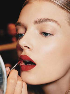 A bold brow and a bold red lip inspiration.